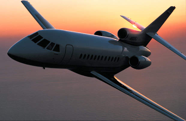 The Dassault Falcon 900C is powered by three Honeywell TFE731-5B turbofan engines.