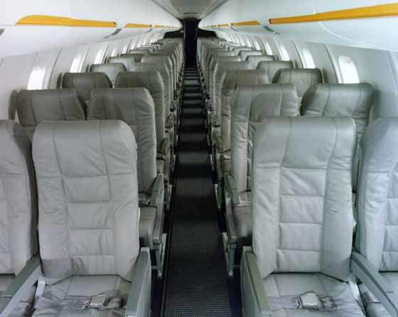The interior of the CRJ700 cabin.
