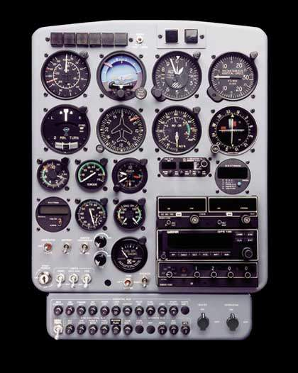 The Model 333 utility helicopter's flight instrument panel.