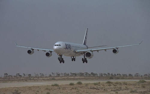 The A340-600 landing after its first flight.