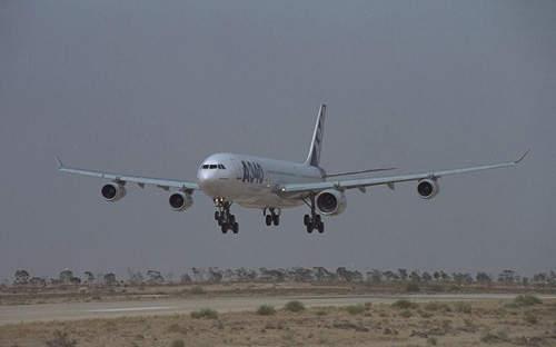 The A340-600 landing after its first flight.
