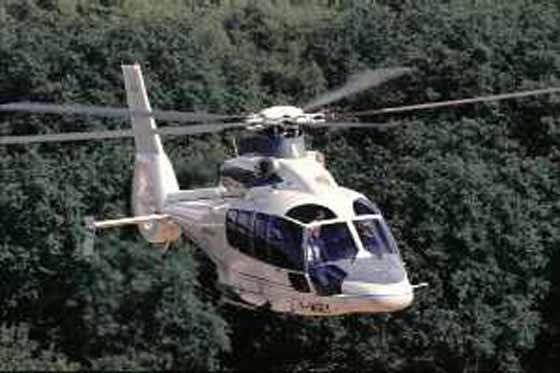 The Eurocopter EC 155 helicopter in flight. The Fenestron type tail rotor helps reduce both vibration and noise.