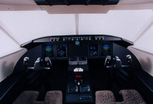 The Bombardier Challenger 300 flight deck. Rockwell Collins was given the task of supplying the Pro Line 21 integrated avionics system.