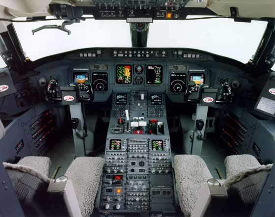 The CRJ700 flight deck showing cockpit instrumentation.