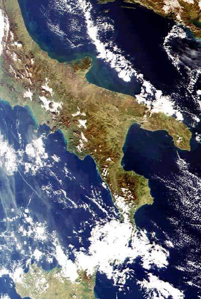 Resurs O1 satellite view of Italy.