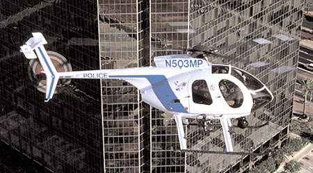 The MD500E light helicopter, in service with the Mesa Police Department of Arizona.
