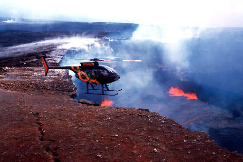 The MD500E over the Kilauea volcano in Hawaii.