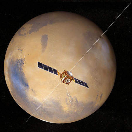 Mars Express in orbit around the Red Planet. Courtesy of the European Space Agency, © ESA 2001.