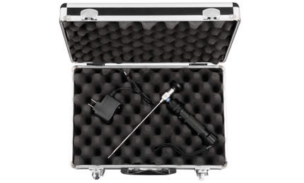 A black and silver case with borescope inside