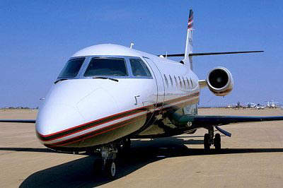 The business jet's typical cruise speed is Mach 0.82.