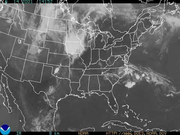 View of USA from satellite.