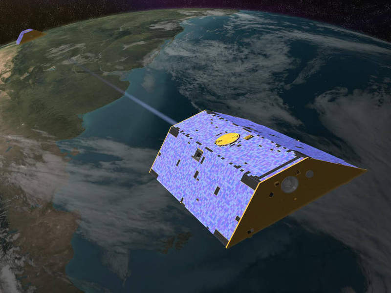 Artist's rendering of GRACE-FO satellites. Credit: Nasa/JPL-Caltech.