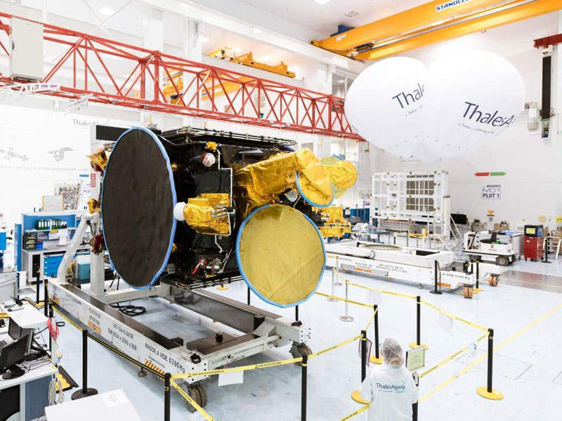 The satellite was manufactured by Thales Alenia Space (TAS) at Cannes, France. Credit: Thales Alenia Space.