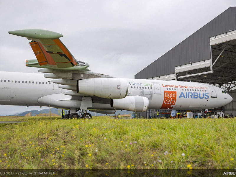 The aircraft's outer surface of the wing is smooth and glossy, which can reduce the drag. Credit: Airbus.