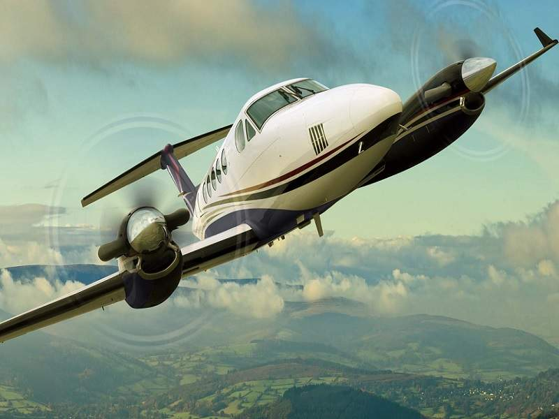 The Beechcraft King Air 250 turboprop aircraft has a maximum passenger capacity of ten. Credit: Textron Aviation.