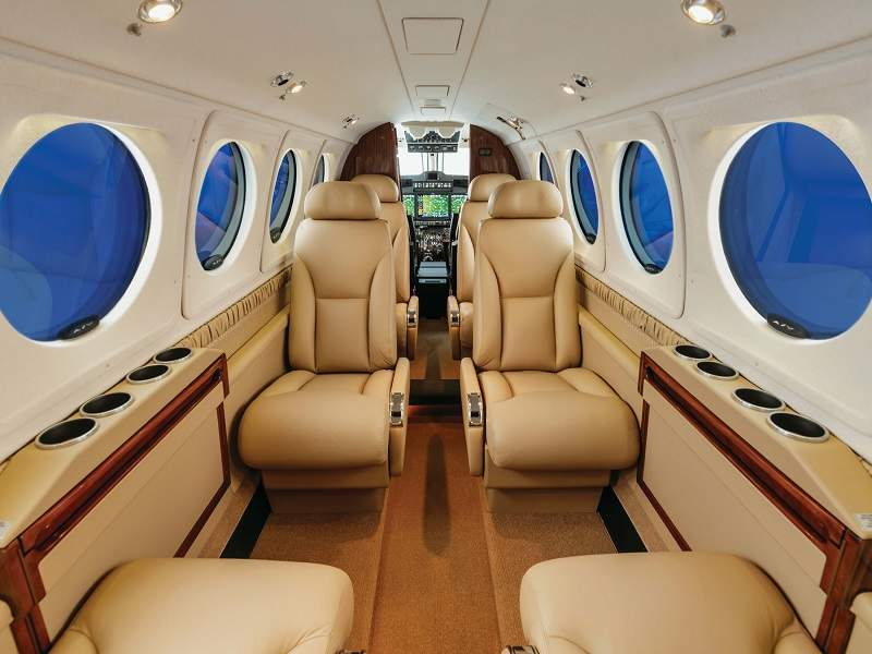 The cabin interiors can be customised with beechwood, greige, mocha, parchment, and silver schemes. Credit: Textron Aviation.