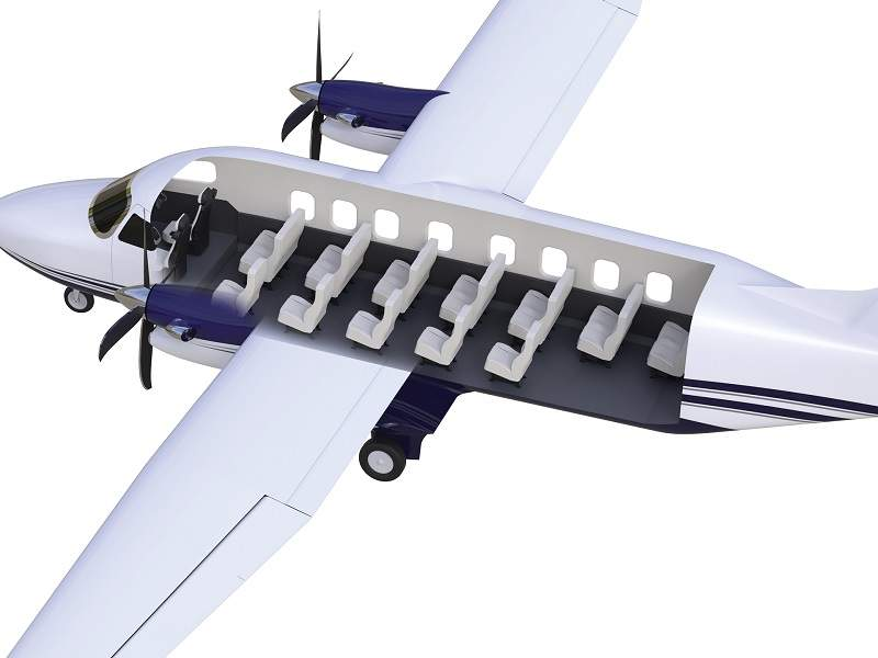 The passenger aircraft configuration will accommodate 19 passengers. Image courtesy of Textron Aviation Inc.