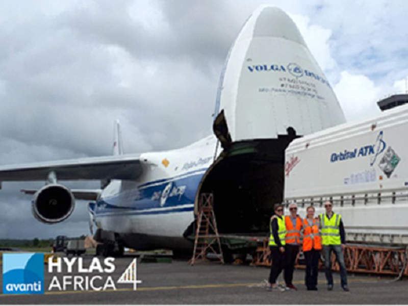 The satellite was transported to the launch station at French Guiana in February 2018. Image courtesy of Avanti Communications Group plc.