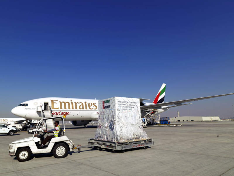 KhalifaSat was transported by Emirates SkyCargo in February 2018. Credit: Emirates SkyCargo.