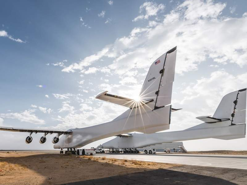 The first launch demonstration of the aircraft is scheduled to take place in 2019. Credit: Stratolaunch Systems Corp.