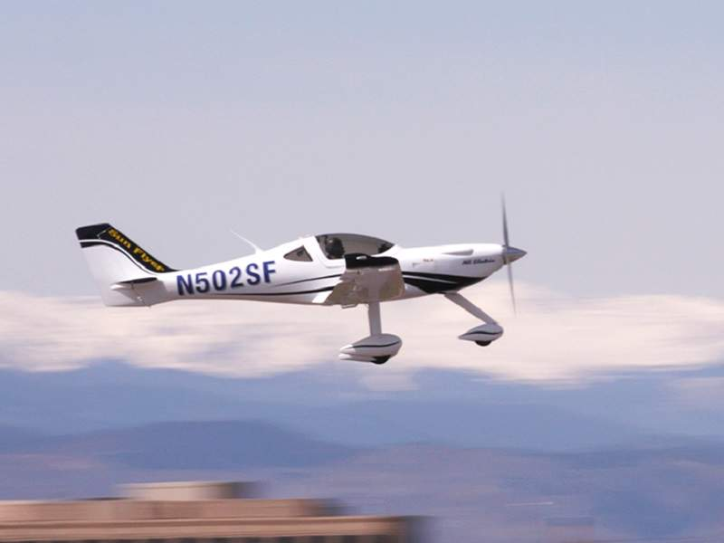 eFlyer 2 is a two-seat, all-electric, low-wing monoplane being developed by Bye Aerospace. Credit: Bye Aerospace.