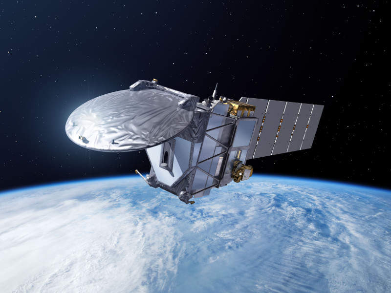 Artist's rendering of Earth Cloud Aerosol and Radiation Explorer (EarthCARE) Satellite. Credit: ESA–P. Carril, 2013.