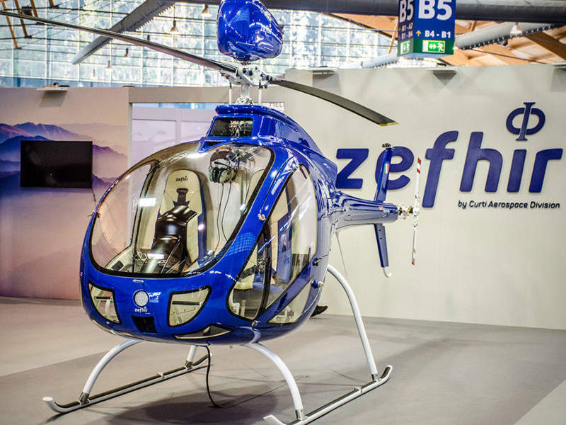 Zefhir is a unique turbine lightweight helicopter with a two-seater capacity. Credit: Curti Costruzioni Meccaniche SpA.