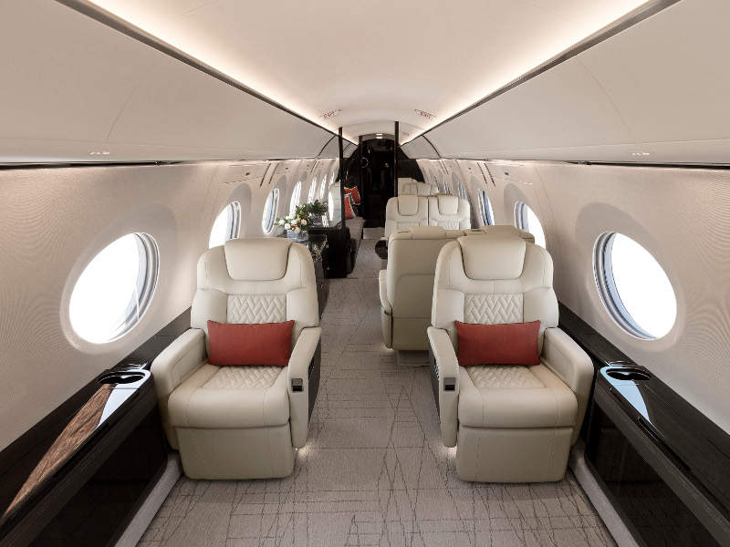 The cabin of G600 can be configured for up to four living areas. Image courtesy of Gulfstream Aerospace Corporation.