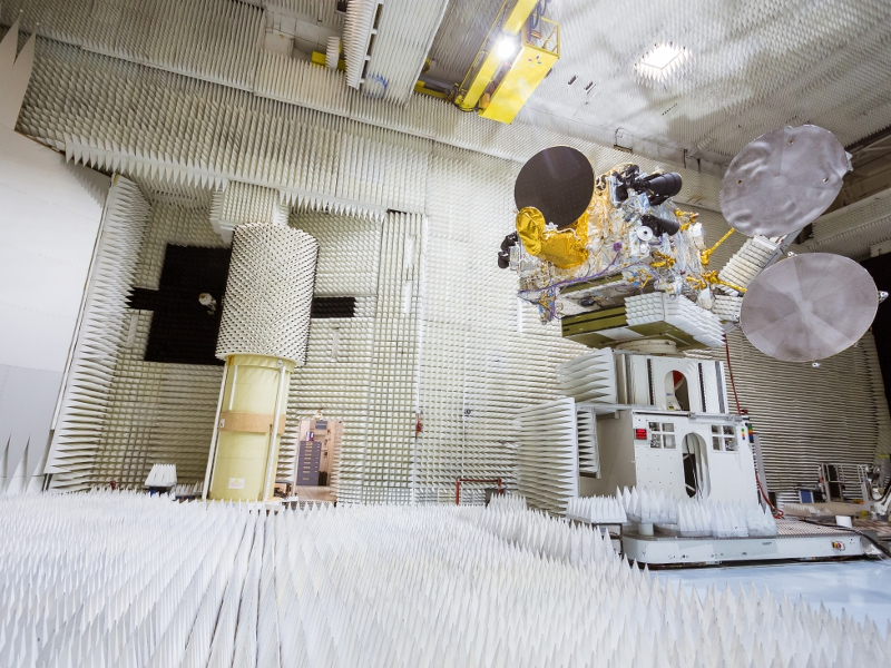 The satellite's communications module was integrated at Thales Alenia Space's plant located at Toulouse, France. Credit: THALES Alenia Space/imag[IN].