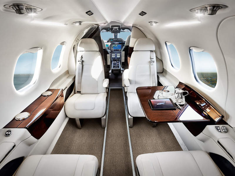 The Phenom 100EV aircraft has a spacious cabin equipped with latest technologies and new seating configurations. Credit: Embraer SA.