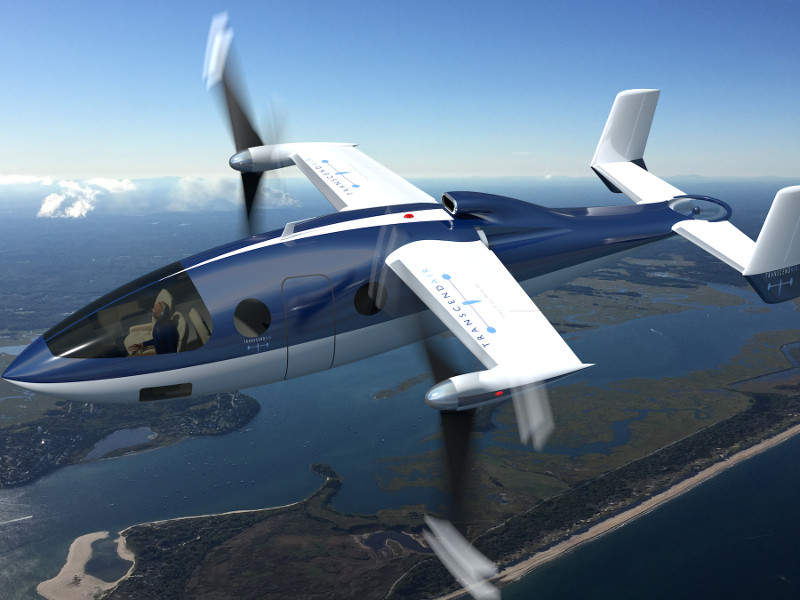 The Vy 400 vertical take-off and landing (VTOL) aircraft is being developed by Transcend Air. Credit: Transcend Air Corporation.