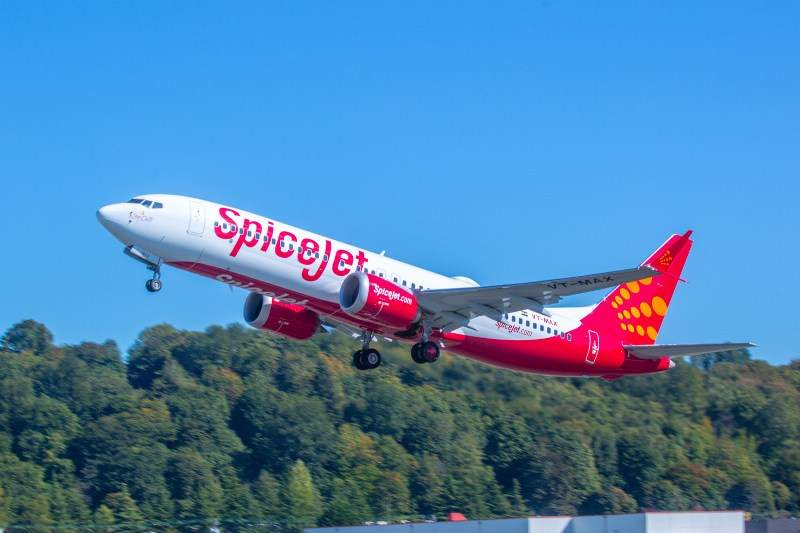 SpiceJet's first 737 MAX 8 takes-off from Boeing Field in Seattle, Washington, US