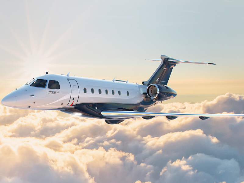 Praetor 600 is a new business jet developed by Embraer. Image courtesy of Embraer S.A.