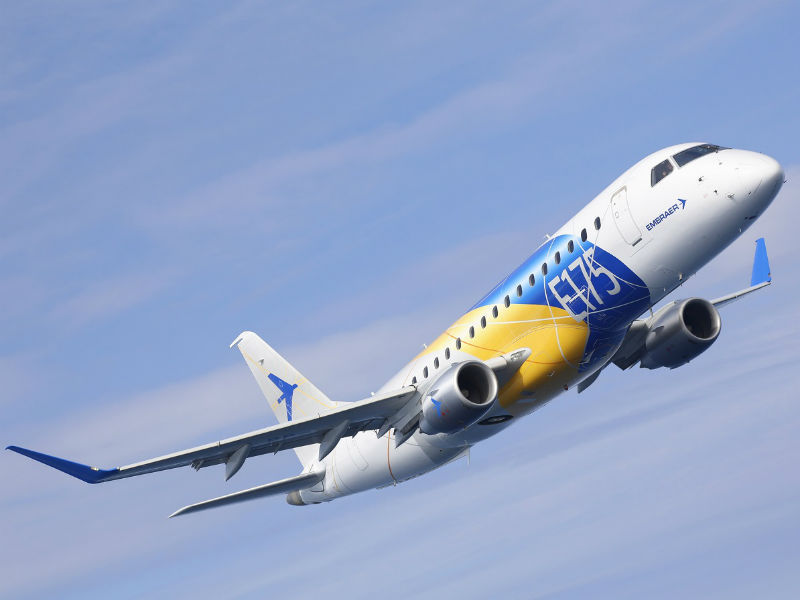 Embraer E175 is a commercial jet that is part of the E-Jet family. Credit: Embraer.
