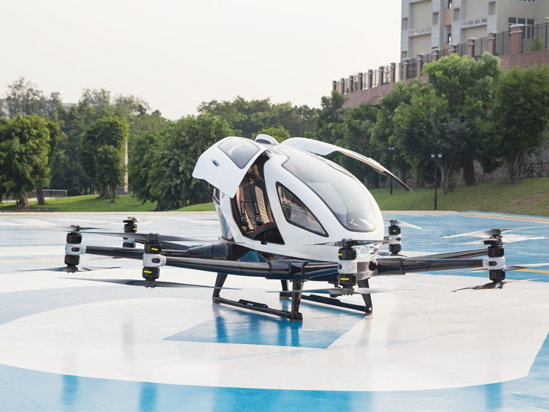 Ehang 216 is an autonomous aerial vehicle designed for autonomous on-demand air travel in urban areas. Credit: FACC.