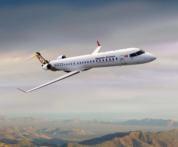 The first Bombardier CRJ900 regional jet fitted with the atmosphere cabin by Uganda National Airlines. Credit: Bombardier Aéronautique - Commercial Aircraft.
