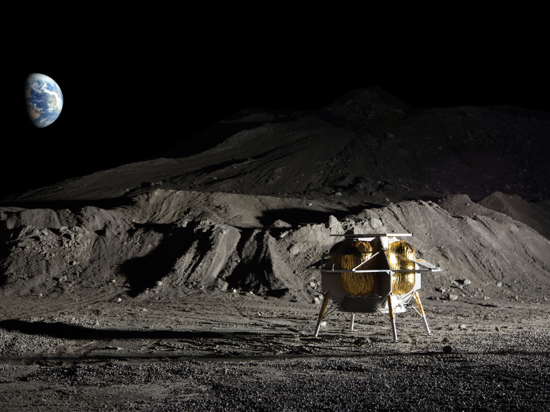 Peregrine lander will carry payload to moon as part of NASA's Commercial Lunar Payload Services (CLPS) initiative. Image courtesy of Astrobotic Technology.
