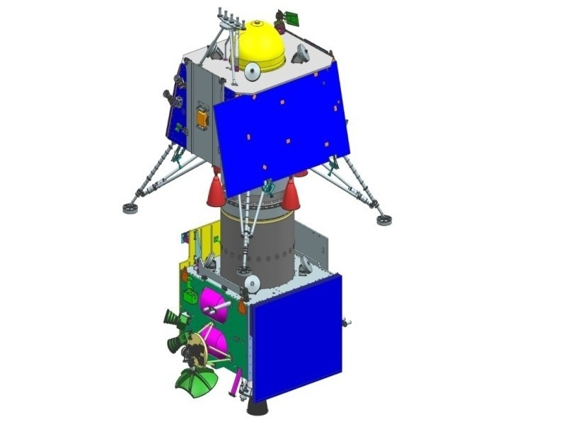 A rendering of the lander and rover module of the Chandrayaan-2 mission. Credit: Indian Space Research Organisation (ISRO).