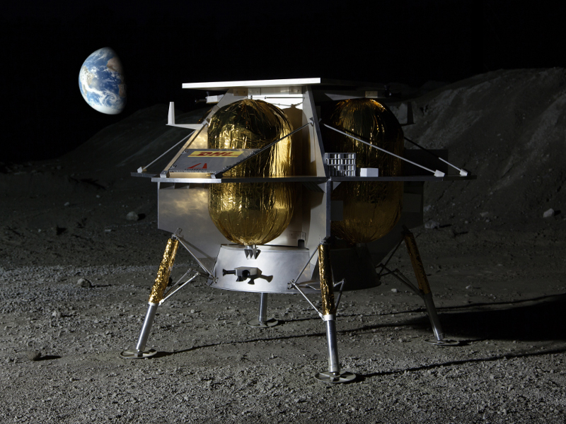 A total of 28 payloads will be carried to lunar surface by the Peregrine lander. Image courtesy of Astrobotic Technology.