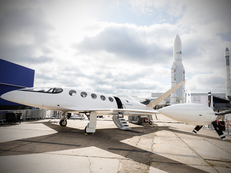 The all-electric Alice Commuter business aircraft on display during the Paris Air Show 2019. Credit: Eviation.