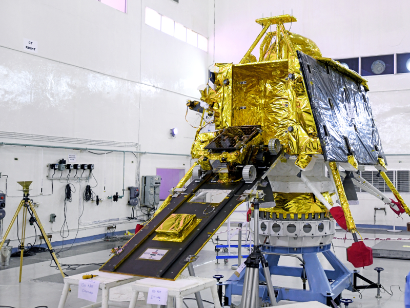 Chandrayaan-2 carries a rover named Pragyan. Image courtesy of ISRO.