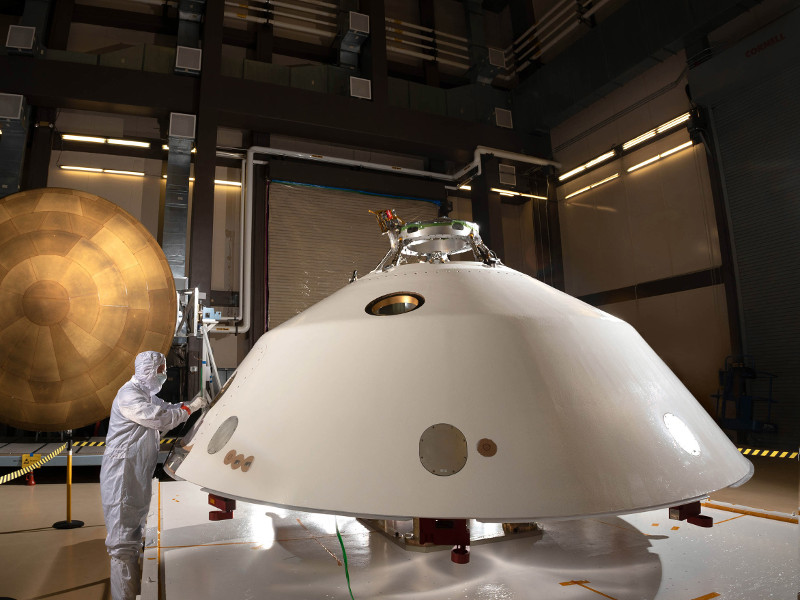 The aero-shell will protect the rover from intense heat during its descend to Martian atmosphere. Credit: Lockheed Martin Corporation.