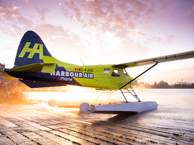 Harbour Air's ePlane is the first all-electric commercial aircraft in the world. Credit: magniX.