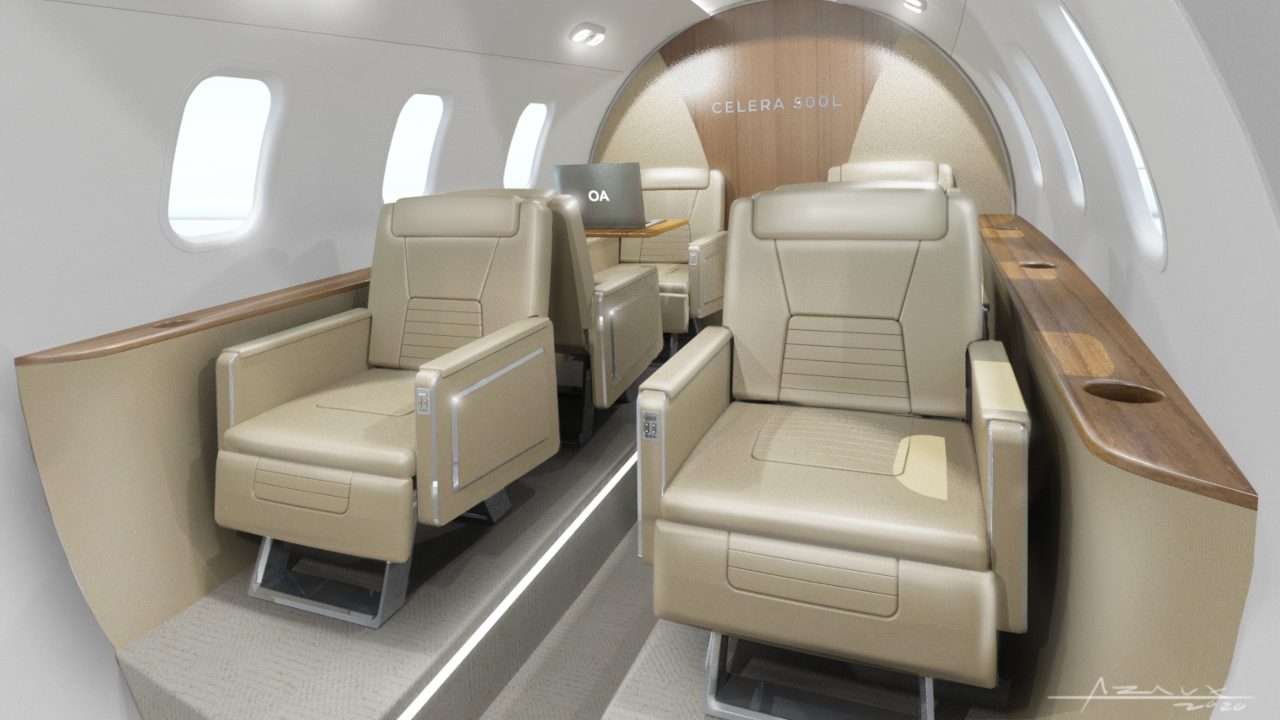 The bullet-shaped passenger aircraft will feature six first-class equivalent seats. Credit: OTTO AVIATION GROUP LLC.