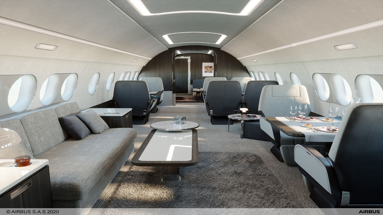 The aircraft will have a total cabin floor area of 73m². Credit: Airbus.