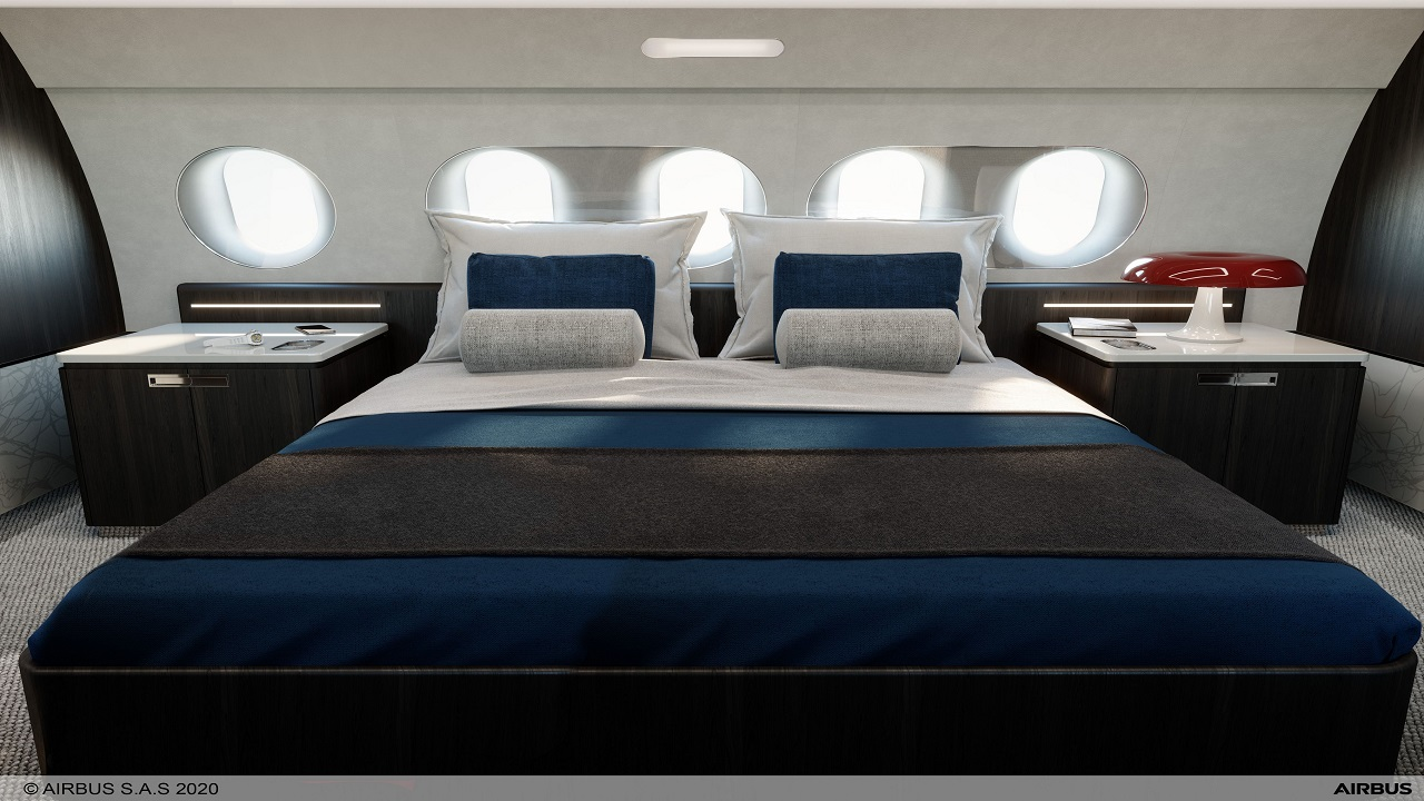 The business jet will offer a US-king size bed and large seats. Credit: Airbus.