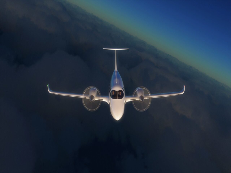 The wing-mounted motors on eFlyer 800 are supplied by Safran. Credit: Bye Aerospace.