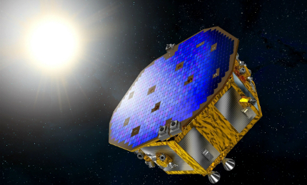 An artist's impression of the LISA Pathfinder spacecraft.