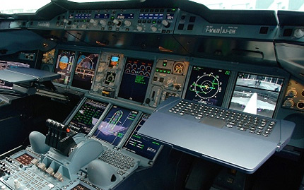 Airbus A380 cockpit displays